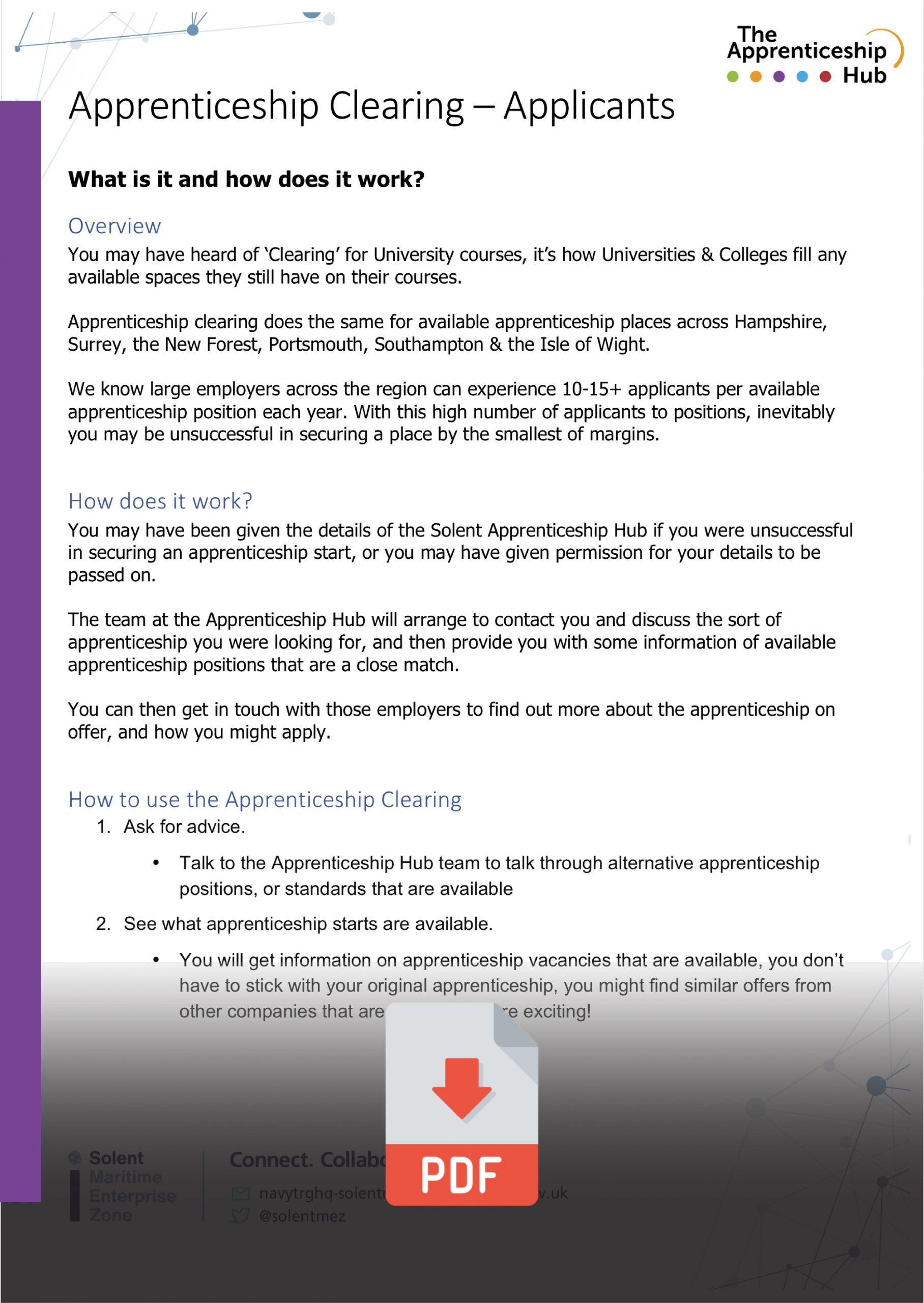 Apprentice Clearing Information Doc
