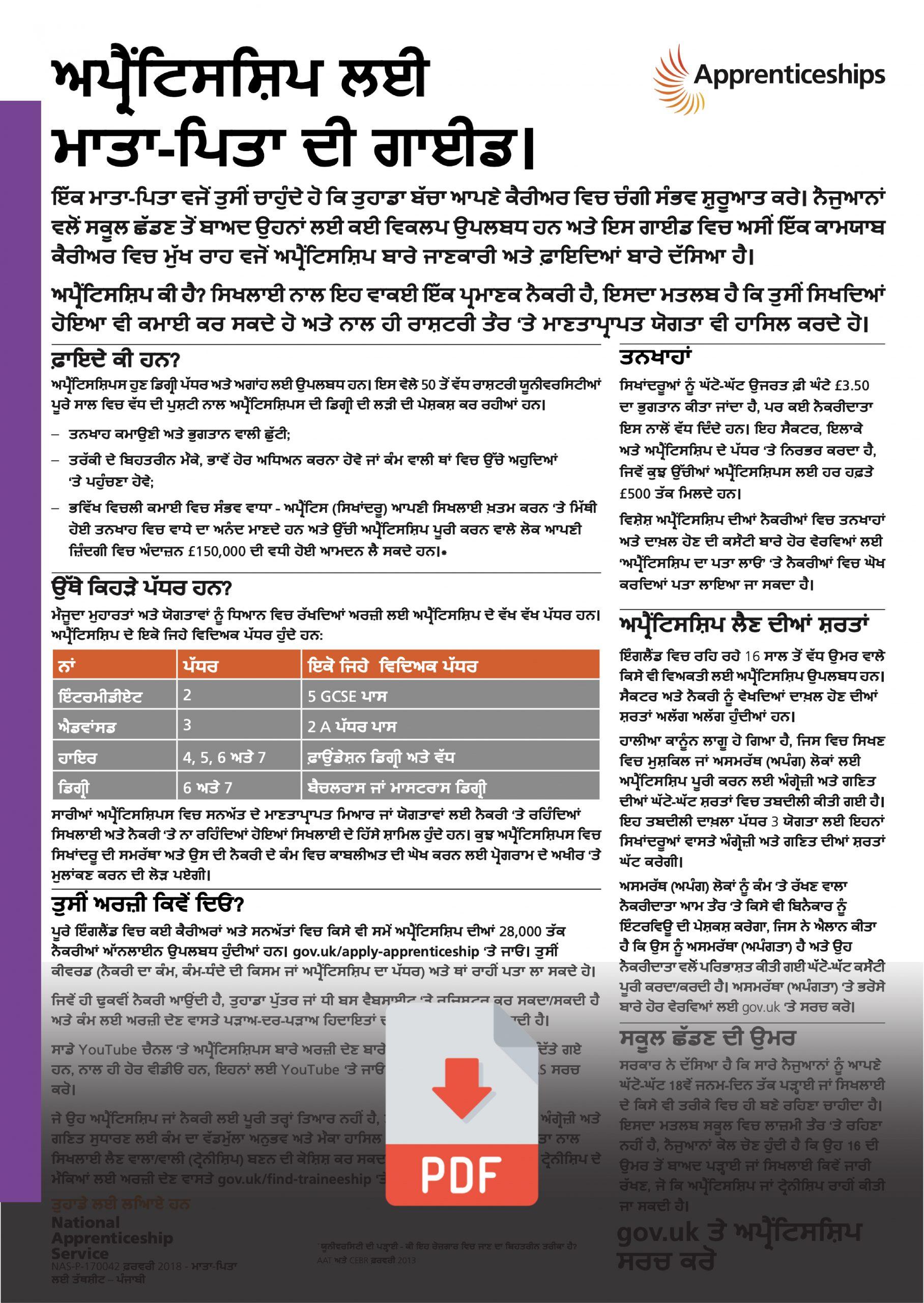 Punjabi Parents Apprenticeships Information Guide