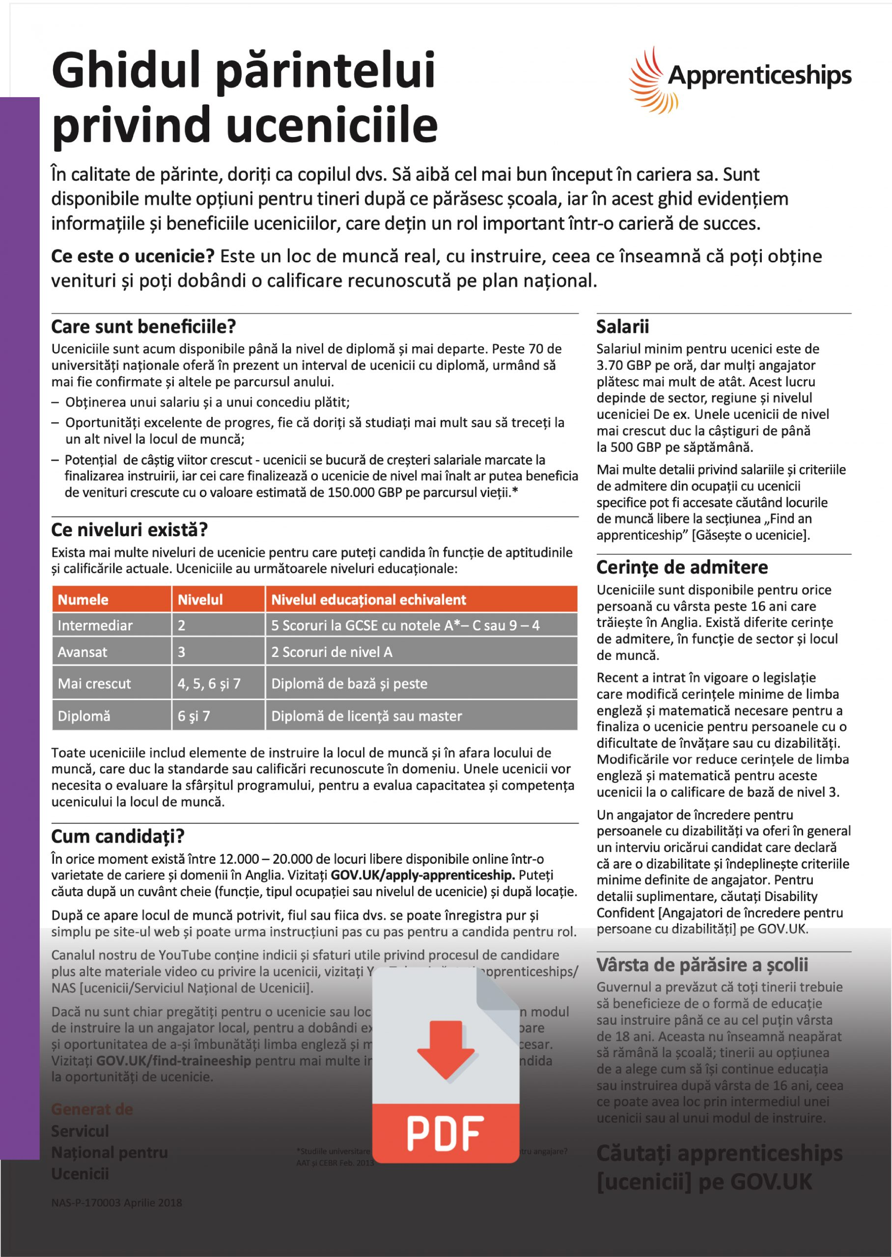 Romanian - Parents Guide to Apprenticeships